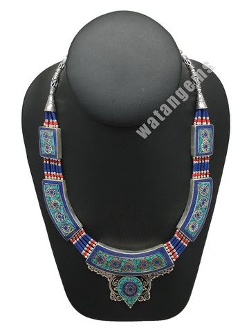 Ethnic Tribal Lapis, Red Coral & Green Turquoise Inlay Statement Necklace,NPN131