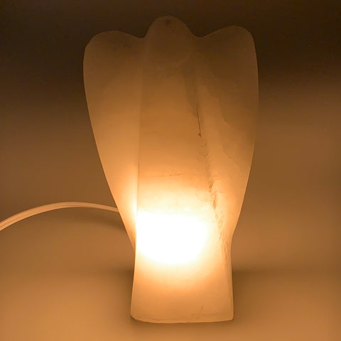 "1002g, 7""x3.6""x2.1"" White Selenite (Satin Spar) Angel Lamps @Morocco,B9472"