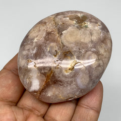 "126.9g, 2.6""x2.2""x1"" Natural Flower Agate Palm-Stone Reiki Energy Crystal,B3011"