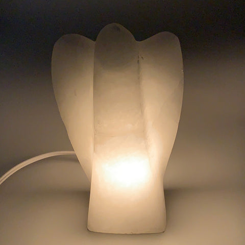 "1324g, 7""x4.1""x2.5"" White Selenite (Satin Spar) Angel Lamps @Morocco,B9473"