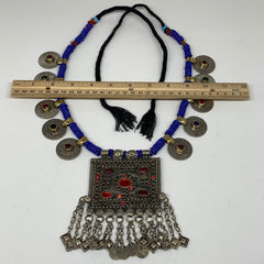 Kuchi Pendant Necklace Afghan Tribal Coins Beaded Necklace ATS Handmade S23