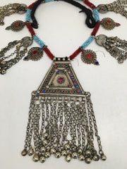 252 Grams Afghan Kuchi Jingle Coins Chain Bells Boho ATS Pendants Necklace,KC134 - watangem.com
