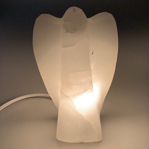 "1124g, 7""x4.1""x2.3"" White Selenite (Satin Spar) Angel Lamps @Morocco,B9474"