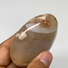 "144.5g, 2.7""x2.1""x1.1"" Natural Flower Agate Palm-Stone Reiki Energy Crystal,B301"