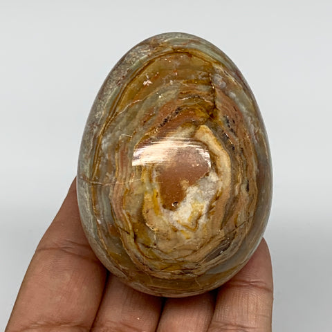 "268.1g, 2.7""x2"" Natural Green/Red Onyx Egg Gemstone Mineral, @Pakistan, B7518"