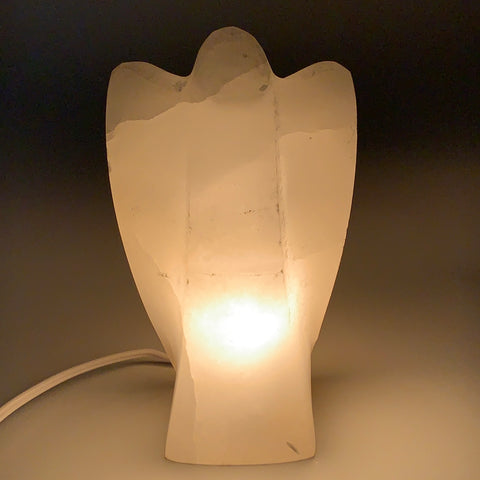 "1252g,7""x3.9""x2.5"" White Selenite (Satin Spar) Angel Lamps @Morocco,B9477"