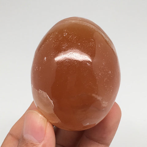 "155.3g, 2.2""x1.7"" Honey Color Onyx Polished Small Eggs from Morocco, MF3379"