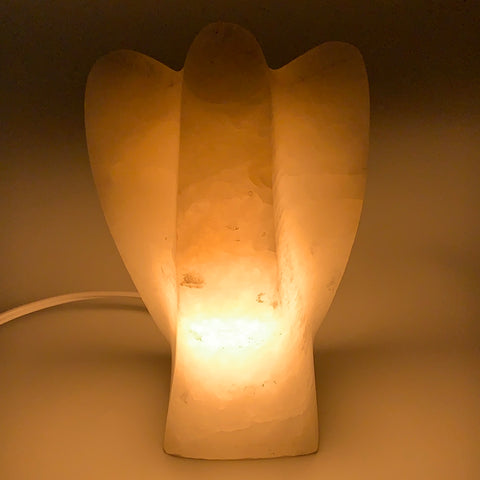 "1546g,7""x4.3""x2.9"" White Selenite (Satin Spar) Angel Lamps @Morocco,B9479"