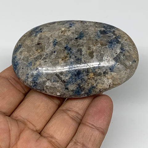 "98g, 2.7""x1.8""x0.9""Blue Quartz Palm-Stone Crystal Polished Reiki Energy,B3959"