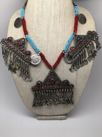 212 Grams Afghan Kuchi Jingle Coins Chain Bells Boho ATS Pendants Necklace,KC145 - watangem.com