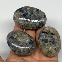 "184.6g, 2""-2.2"", 3pcs, Blue Quartz Palm-Stone Crystal Polished Reiki Energy,B396"