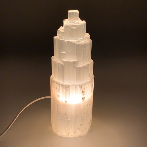 "4.4 lb,10""x3""x3.5"" Rough Selenite (Satin Spar) Lamp Tower W/Chord, B9492"