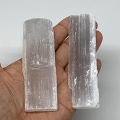 "99.5g, 3.8""-4"",  2pcs, Natural Rough Solid Selenite Crystal Blade Wand Stick, F3"