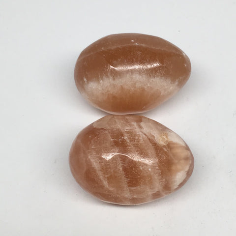 "2pcs,141.8g, 1.8""- 1.9"" Honey Color Onyx Polished Small Eggs @Morocco, MF3349"