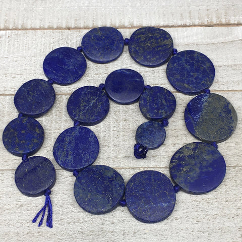 "19mm-33mm,16 Bead Lapis Lazuli Circle/Oval Beads Strand 19"" @Afghanistan,LPB455"