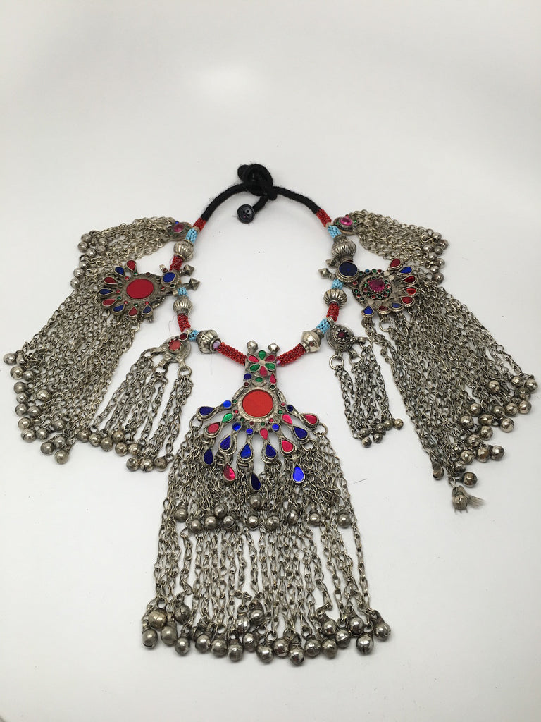 498 Grams Afghan Kuchi Jingle Coins Chain Bells Boho ATS Pendants Necklace,KC169 - watangem.com