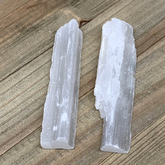 "122.8g, 4""-4.1"", 2pcs, Natural Rough Solid Selenite Crystal Blade Wand Stick, F3"
