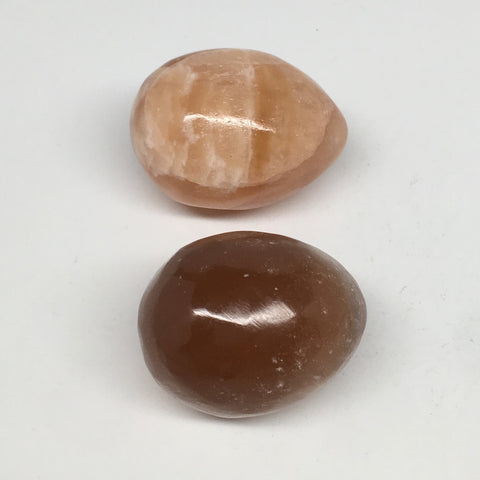 "2pcs,154.3g, 1.7""- 1.9"" Honey Color Onyx Polished Small Eggs @Morocco, MF3346"