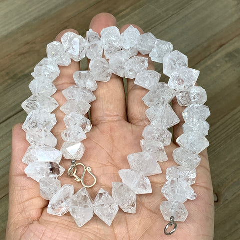 "13-19mm, 45 Bds, 101.6g, Natural Terminated Diamond Quartz Beads Strand 16"",DQ68"