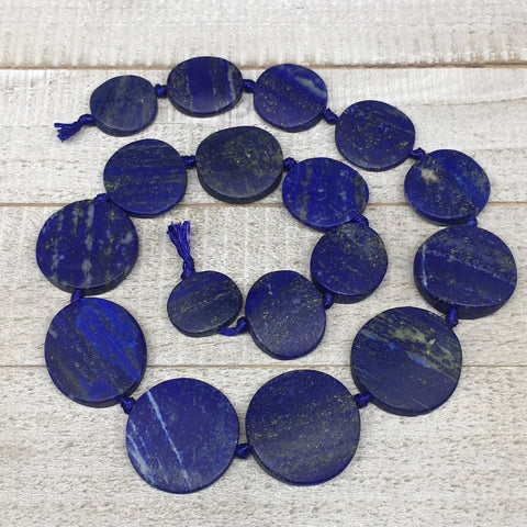 "19mm-31mm,17 Bead Lapis Lazuli Circle/Oval Beads Strand 19"" @Afghanistan,LPB456"