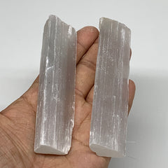 "129.1g, 3.9""-4.1"", 2pcs, Natural Rough Solid Selenite Crystal Blade Wand Stick,"