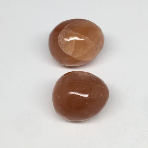 "2pcs,159.6g, 1.6""- 1.8"" Honey Color Onyx Polished Small Eggs @Morocco, MF3344"