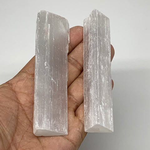 "119.3g, 4"", 2pcs, Natural Rough Solid Selenite Crystal Blade Wand Stick, F3318"