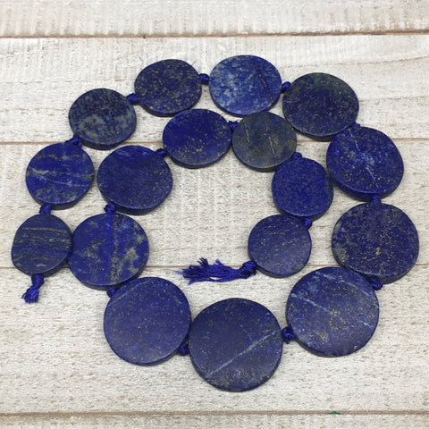 "23mm-31mm,17 Bead Lapis Lazuli Circle/Oval Beads Strand 19"" @Afghanistan,LPB458"