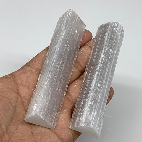 "137.4g, 4"", 2pcs, Natural Rough Solid Selenite Crystal Blade Wand Stick, F3319"