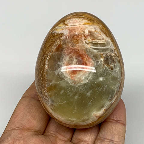 "241.5g, 2.7""x2"" Natural Green/Red Onyx Egg Gemstone Mineral, @Pakistan, B7554"