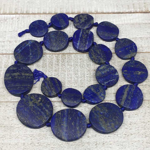 "19mm-33mm,19 Bead Lapis Lazuli Circle/Oval Beads Strand 20"" @Afghanistan,LPB460"