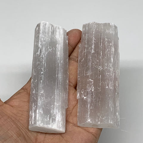 "129g, 3.9""-4"", 2pcs, Natural Rough Solid Selenite Crystal Blade Wand Stick, F332"