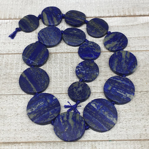 "22mm-34mm,17 Bead Lapis Lazuli Circle/Oval Beads Strand 20"" @Afghanistan,LPB461"