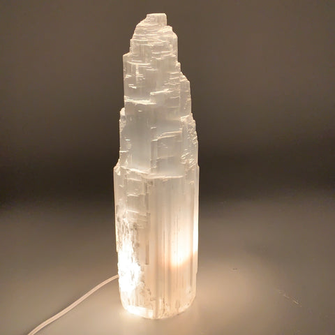 "10.25 lb,14.75""x3.9"" White Selenite (Satin Spar) Rough Lamp W/Chord @Morocco,B95"