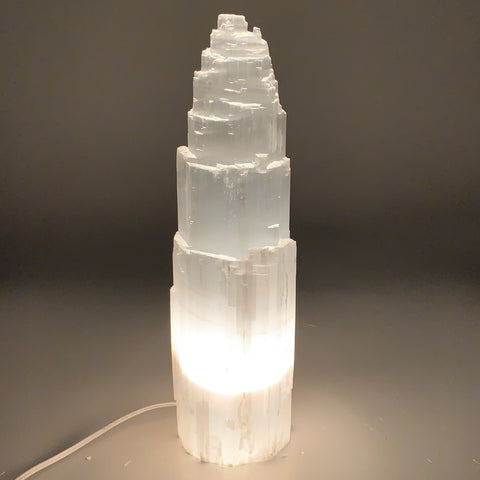 "11.6 lb,15.25""x4.2"" White Selenite (Satin Spar) Rough Lamp W/Chord @Morocco,B950"