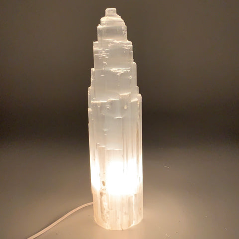 "8.2 lb,14.75""x3.5"" White Selenite (Satin Spar) Rough Lamp W/Chord @Morocco,B9502"