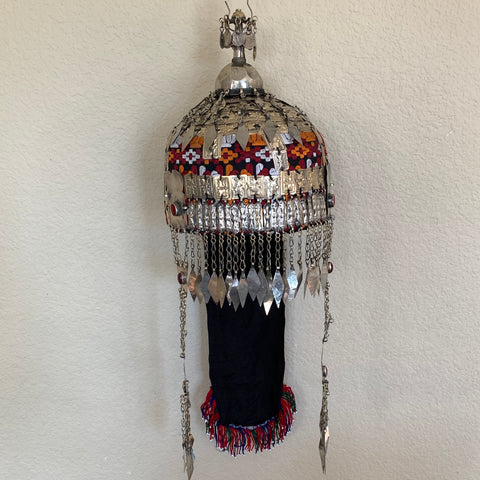 Reproduced from Old Pieces Vintage Style Large Turkmen Hat Metal Work Silk,P104