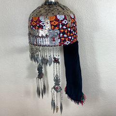 Reproduced from Old Pieces Vintage Style Large Turkmen Hat Metal Work Silk,P106