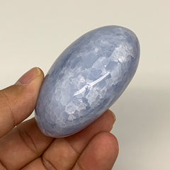 "163.4g, 2.5""x2.2""x1.3"" Blue Calcite Palm-Stone Tumbled Reiki @Madagascar, B5899"