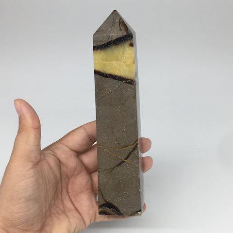 "516g,6.75""x1.5""x1.5"" Natural Septarian Tower Point Crystal @Madagascar,TP152"