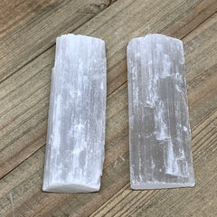 "114.8g, 3.9"",  2pcs, Natural Rough Solid Selenite Crystal Blade Wand Stick, F328"