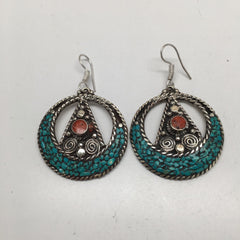 Nepalese Tribal Red Coral, Lapis, Green Turquoise Inlay Round Earring, NPE02
