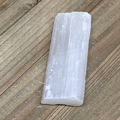 "112.8g,4""x1.6""x0.7""Natural Rough Solid Selenite Crystal Blade Wand Stick,F3280"