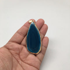 71.5 cts Blue Agate Druzy Slice Geode Pendant Gold Plated From Brazil, Bp1057 - watangem.com