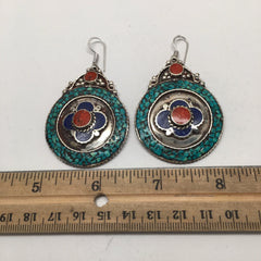 Vintage Nepalese Tribal Lapis, Red Coral & Green Turquoise Inlay Earring, NPE14 - watangem.com