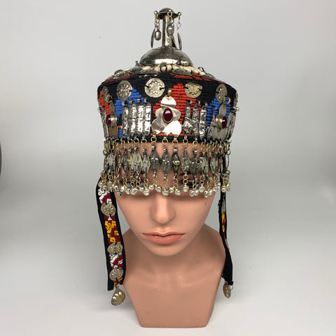 Reproduced from Old Pieces Vintage Style Small Turkmen Hat Metal Work Silk, P120