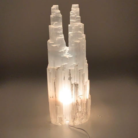 "14.6 lb,15.25""x5.3"" Rough Selenite (Satin Spar) Lamp Twin W/Chord @Morocco,B9514"