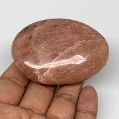 "119.6g, 2.7""x1.9""x0.9"" Pink Cipolin Palm-Stone Crystal Polished Reiki Energy,B40"