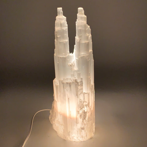 "13.2 lb,14.5""x5.4"" Rough Selenite (Satin Spar) Lamp Twin W/Chord @Morocco,B9515"