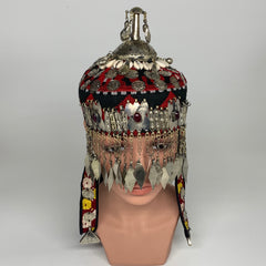 Reproduced from Old Pieces Vintage Style Small Turkmen Hat Metal Work Silk, P125